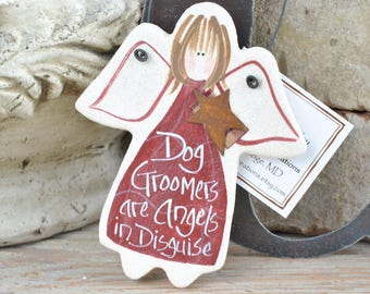 Dog Groomer Gift Salt Dough Angel Ornament / Thank You / Appreciation Gift
