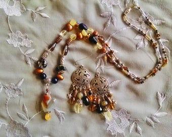 Bohemian citrine agate necklace earring set, Silver, fire agate, smoky quartz, pendant necklace chandelier earring set