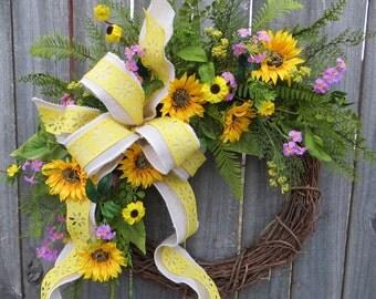 Sunflower Wreath, Wildflower Spring Wreath, Sunflower Wreath, White Burlap Sunflower Decor, Yellow and Purple Spring Wreath, Horn's Handmade