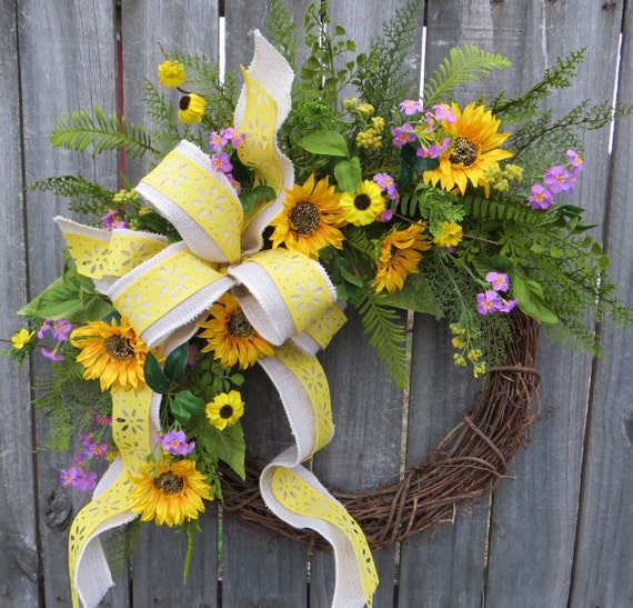 Sunflower Wreath, Wildflower Spring Wreath, Sunflower Wreath, White Burlap Sunflower Decor, Yellow and Purple Spring Wreath, Horn's Handmade