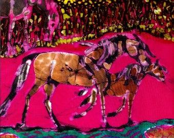 Mare and foal in Pink Field vertical  -   print from original batik
