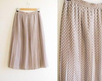 Polka dot pleated midi skirt, Brown accordion pleat skirt, size medium