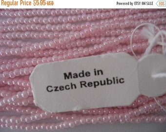 Vintage supplies Vintage Pink Seed Bead Czech Republic 18 String Hank ONLY ONE I have left