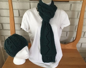 Hand knit Cable Hat and Scarf set/superwash merino/blue-green