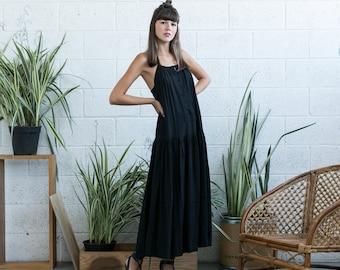 Halloween Sale Embroidered Maxi Dress, Black Maxi Dress, Black Boho Dress