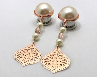 "1/2"" Dangle Plugs Rose Gold Dangle Gauges, 000g 7/16"" Pearl Ear Plugs 9/16"" Bridal Teardrop Hanging Plugs 12mm 14mm 11mm"