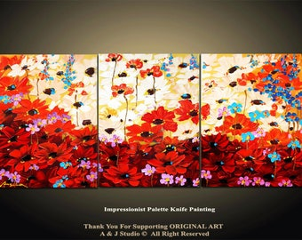 54''x24'' Abstract Painting,   Huge  Original DEEP Artist Canvas  Textured Palette Knife Painting,   Ready to Hang