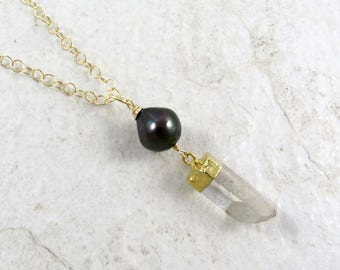 Tahitian Pearl Necklace, Crystal Quartz Pendant, Long Gold Chain, Handmade Hawaiian Jewelry, Gift, Summer Fashion, Gemstones, Genuine Pearls