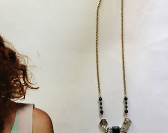 Glass and metal bead necklace with brass chain