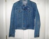 Vintage 1970s Wrangler No Fault 2 Pkt Denim Jacket Sz 38, Sanfor Set, Worn Collar, White Tag, Men's Ranch, Western Wear