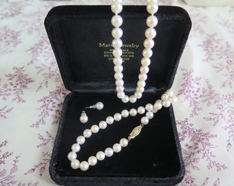 Knotted Pearl Necklace and Pearl Stud Earrings Set
