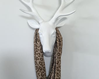 Infinity Scarf - Cotton Jersey Knit - Dessert Cheetah two-tone brown - ANIMAL PRINT