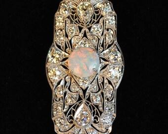 Art Deco 3.0 carat Diamond and Opal Pin/Pendant
