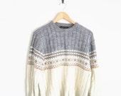 80s Knit Sweater. Vintage Jantzen Nordic Cable Knit Sweater Jumper. Grey Cream Sweater. Scandinavian Pattern Sweater. Wool Sweater.