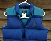 REI puffy Vest vintage 80s 90s Blue Goose Down jacket Youth L Womens S/M Mens XS hiking camping outdoor wear retro