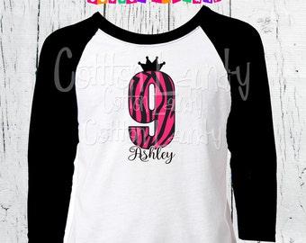 Birthday Princess zebra print girls birthday tee shirt personalized ages five thru 10 double digit birthday zebra print