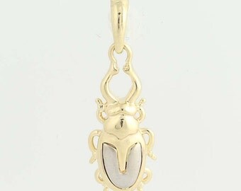 Beetle Bug Charm - 14k Yellow Gold Insect Pendant N3985