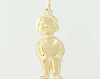 Little Boy Pendant - 14k Yellow Gold Mother's Grandmother's Keepsake Gift N8179