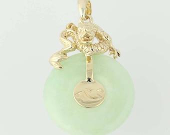Jadeite Pendant - 10k Yellow Gold Asian Water Scene Women's Gift N8988