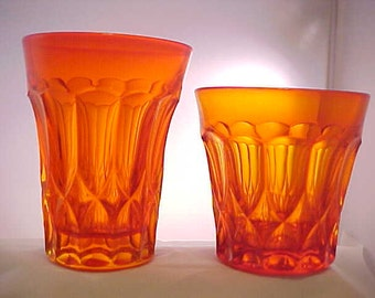 1970s Perspective by Noritake in Tangerine, 2 Barware Tumblers in Orange Color Glassware, Double Old Fashioned and 5 Inch Flat Tumbler