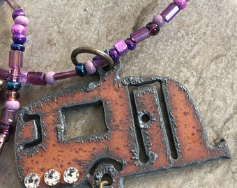 Purple czech glass rustic rv  camper swavorski crystal necklace