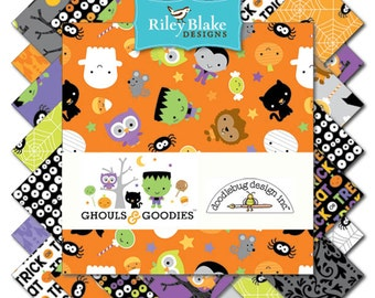 "GHOULS & GOODIES 42 Piece 5"" Stacker (Charm Pack)5-5300-42, Doodlebug Design of Riley Blake, Cute Halloween Fabric"