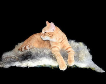 Cruelty Free, Lincoln, Cat Bed, Dog Mat, Pet Bed, Humane SheepSkin, Felted Wool Fleece, Sheep Wool Cushion, Natural Pet Bed, Meditation Mat
