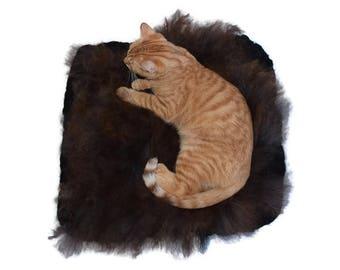 Cruelty Free, BFL Wensleydale, Lambs Wool Rug, Wool Cat Bed, Felted Fleece, Sheep Friendly Wool, Humane Sheepskin, Rustic Pet Rug, Dog Mat
