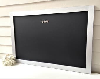Elegant Magnetic Chalkboard - Bulletin Board Magnet Board METALLIC Silver Wood Handmade Hardwood Frame 20 x 30 Office Organizer More COLORS