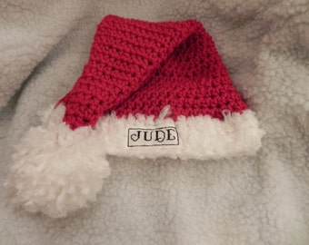 Personalized Hand Stitched Infant Santa Claus Hat FREE SHIPPING USA Newborn Photography Prop