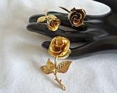 3 Vintage Brooch Pins Brooches Brooch Rose Roses Goldtone Gold tone  Lot H