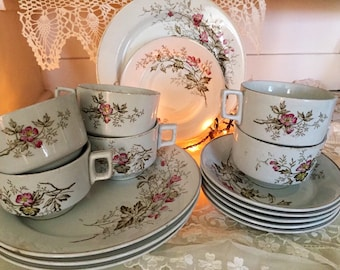 1800s Alfred Meakin English Ironstone China pink brown transferware floral branches 16pc lot