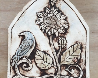 Bird with sunflower arch shaped porcelain tile with matte finish