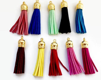 10 Gold Suede Tassels, Mixed Colours, Suede Tassel Gold Charms Pendant P 30 057