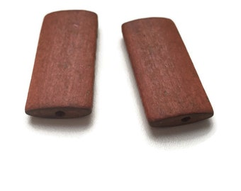 Large Brown Wooden Beads, Large Geometric Beads, Wooden Rectangle Beads 10pcs W 70 051