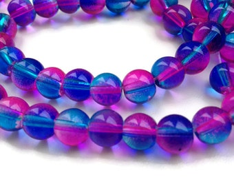 50 Round Glass Beads, Blue Pink Glass Beads, 8mm Round Glass Beads G 50 035