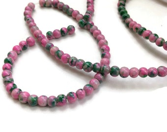 100 Mottled Glass Beads, Pink Green Glass Beads, 4mm G 50 040