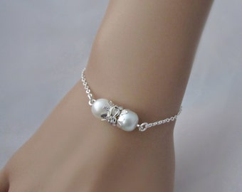 Pearl Rhinestone Bracelet, Bridesmaid Gifts, Pearl Bridal Bracelet, Gifts for Bridesmaid, UK Seller, Flower Girl Gifts, Pearl Jewellery