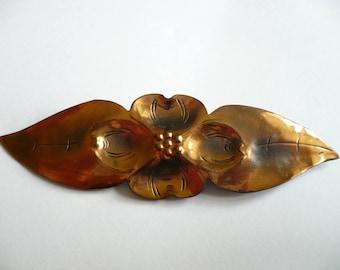 Vintage Stuart Nye Brooch Copper Dogwood Flower Leaf Pin Signed Clover Handmade