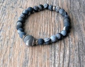 Matte striped onyx, Onyx Bead Bracelet, Men's Black Matte Onyx Bracelet, Stretch Unisex Beaded Stretch Bracelet
