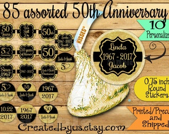 85 Chocolate kiss stickers 50th Anniversary kisses sticker Golden Wedding Anniversary Chocolate Stickers Kisses Label Thank you Party Favors
