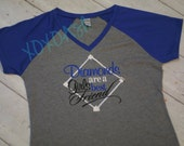 Diamonds are a Girls Best Friend on RAGLAN girls shirts- Embroidered shirt or bodysuit