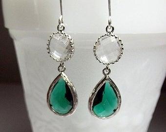 30% OFF SALE thru Mon Emerald Green Glass Drop Earrings, Christmas Gift, Mom Sister Grandmother Bridesmaid Jewelry Gift, Wedding