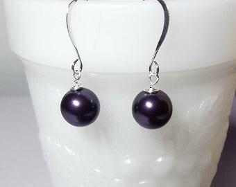 30% OFF SALE thru Mon SET 5 Pairs Swarovski Dark Purple Pearl Drop Earrings, Limited, Bridesmaid Wedding Mom Sister Jewelry Gift