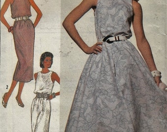 CLEARANCE Va-Va-Voom Sexy Halter Dress - Flared or Straight Skirt Belted - Sizes 6-8-10-12 - UNCUT - Sewing Pattern Simplicity 7938