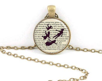 Peter Pan Shadow on Book Page Glass Cabochon Necklace