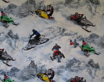 Snowmobile Snow Winter Sports Cotton Fabric Fat Quarter Or Custom Listing