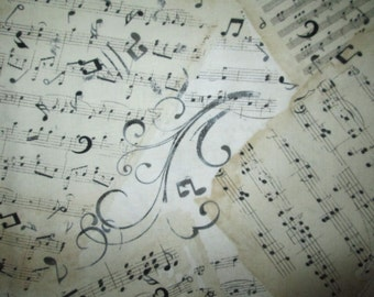 Sheet Music Swirly Notes Natural Cotton Fabric Fat Quarter Or Custom Listing