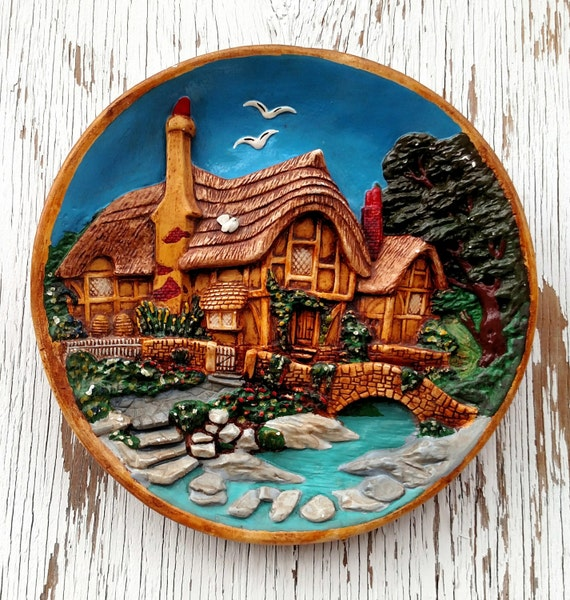 Vintage 1960's Decorative Ceramic Plate with Romantic Rustic Cottage Scene