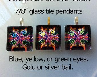 SuperNova Cat handmade glass tile pendant